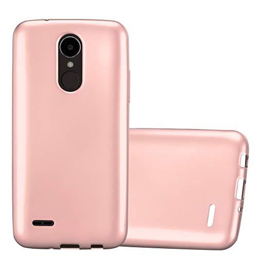Cadorabo Custodia per LG K4 2017 in Oro Rosa Metallico - Morbida Cover Protettiva Sottile di Silicone TPU con Bordo Protezione - Ultra Slim Case Antiurto Gel Back Bumper Guscio