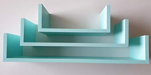 Muebles Pejecar Juego de 3 estanterias de Pared Fabricado en Madera de Pino alistonado Acabado en Verde Mate