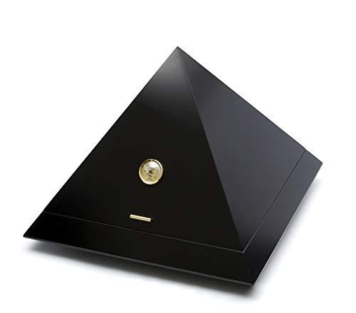 ADORINI Humidor Pyramid - Deluxe   Marken-Humidor mit vergoldetem ADORINI Deluxe Befeuchter, präzisem Haar-Hygrometer, SCHWARZ-