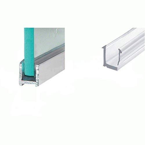 Aluminium Duschkabinen U-Profil 200 cm schmal für 8mm Glasstärke Edelstahloptik gebürstet