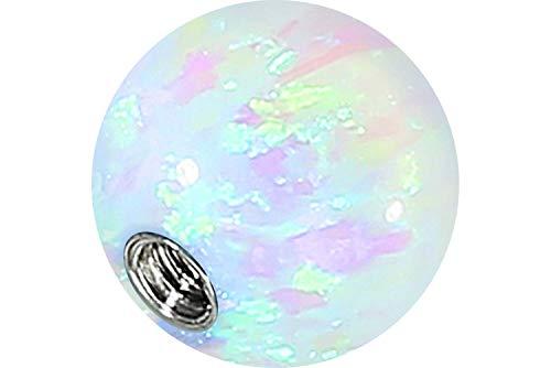 PIERCINGLINE Universelle Schraubkugel mit Innengewinde   SYNTHETISCHER Opal   Piercing Aufsätze Kugel Ersatz   Farb & Größenauswahl