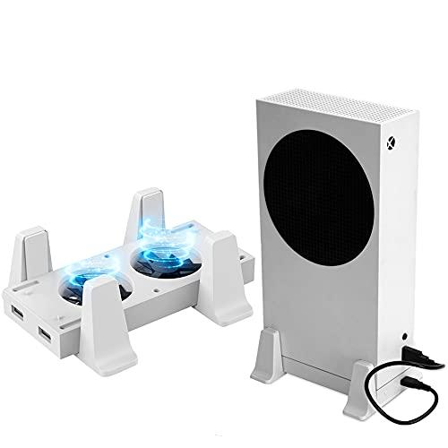 Megadream Soporte vertical para consola de Xbox Series S, con 2 ventiladores, ventilador de 3 velocidades, 2 puertos USB, 4 pies antideslizantes, para Xbox Series S