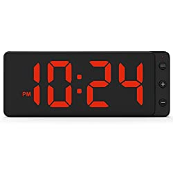 LED Digital Wall Clock with Large Display, Big Digits, Auto-Dimming, 12/24Hr Format, Battery Backup, Silent Wall Clock for Farmhouse, Kitchen, Living Room, Bedroom, Classroom, Office – Red