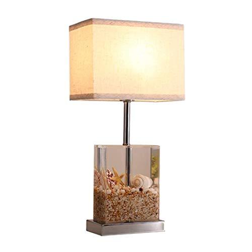 Stilvolle Einfachheit Augenpflegende Tischlampen Modernes Kreatives Design Tischlampe, Transparente, mit Acryl Gefüllte Sand-Muschel, Leinenlampenschirm, Geeignet für Wohnzimmer- / Familien- / Schlaf