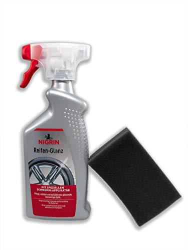 Nigrin Reifen-Glanz-Spray, Reifenpflege auf höchstem Niveau, mit GRATIS Zubehör. Pflegespray mit Schwamm-Applicator. EIN Pflegemittel der Oberklasse