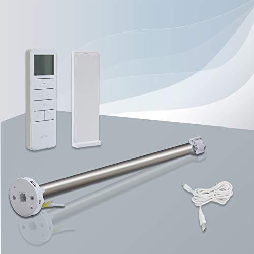 BuSeu Rohrmotor mit Fernbedienung 2M Micro-USB-Schnittstelle Rollomotor 19mm/28mm Rolloantrieb Elektrisch Akku-Motor für Verdunkelungsrollo Doppelrollo