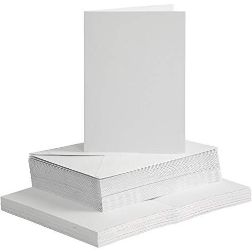 Karten und Briefumschläge Set, 100-tlg, Weiß, Kartengröße 12,7x17,7 cm, passende Umschlaggröße, SPARPACK