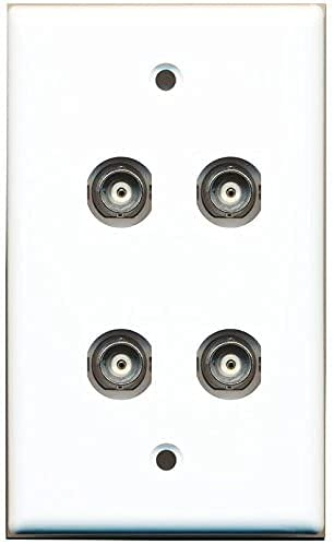 RiteAV 4 Port BNC Female/Female HD-SDI Jack Wall Plate - White