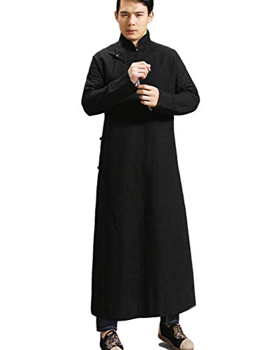 LZJN Men's Trench Coat Spring Autumn Long Jacket Kung Fu Linen Overcoat Vintage Chinese Style (MF-6 Black Extented, M)