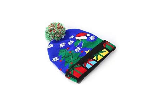 PZgfg Kerstmuts, met 3 kleuren, licht, zacht, warm, kerstdruk, muts, gebreide muts, voor kinderen en volwassenen