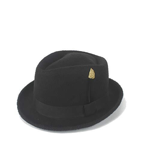 Xuguiping eenvoudige Fedora hoed vilt wol zwart goud veer kerken hoed jazz hoed zonnehoed dames hoed heren wol 56/58 cm zwart
