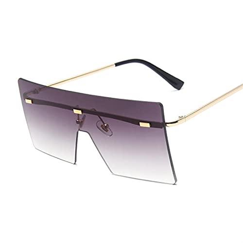 HSCDQ Vintage Square Gafas De Sol Mujeres Siamese Oversized Sun Gafas para Mujeres Marca De Lujo Lente Océano Rimless Big Shades Oculos De Sol exc.tq (Lenses Color : 14)