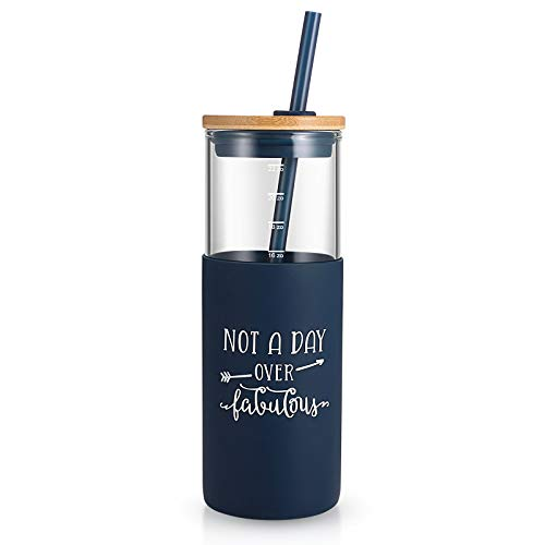 tronco Not A Day Over Fabulous 24 OZ Glass Tumbler For Her Birthday Present | Glass Tumbler With Silicone Sleeve &Straw BPA free