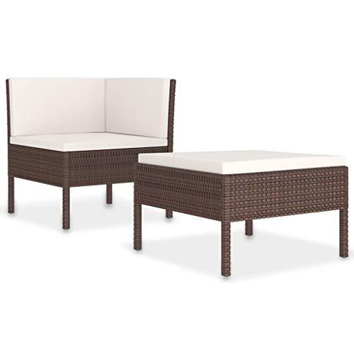 vidaXL Set de Muebles de Jardín 2 Piezas con Cojines Butaca Asiento Exterior Patio Elástica Estable Duradera Sofá Salón Ratán PE Marrón