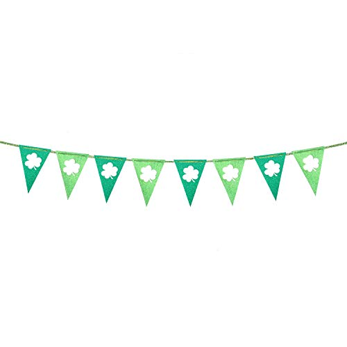 St Patrick's Day Glitter Pennant Banners Decoration, Green Shamrock Clover Garland, Felt Party Flag for Mantel Fireplace Spring Holiday Indoor Outdoor Irish Party Accessory 10 Feet