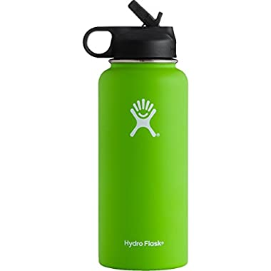 Hydro Flask Vacuum Insulated Stainless Steel Water Bottle Wide Mouth with Straw Lid (Kiwi, 32-Ounce)