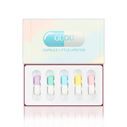 Mini Lipsticks Set,SUNSENT 5PCS Capsule Matte Lip Glosses Waterproof Long Lasting Moisturizing Lipstick Cosmetics Mini Set