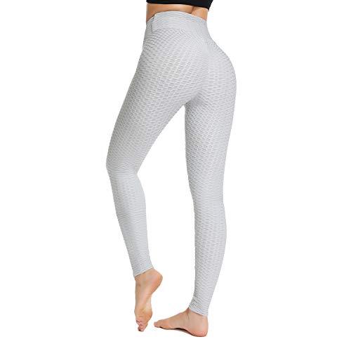 STARBILD Legging Sportivi per Donna Anti-Cellulite Vita Alta Pantaloni Compressione Slim Push Up Yoga Fitness, A-Grigio Clair M