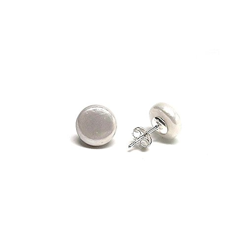 Pendientes plata Ley 925m perla shell plana 10mm. [AB1370]