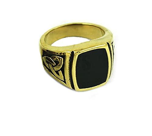 Anillo de nudo celta estilo Claddagh, joyería de acero inoxidable, patrón egipcio, anillo de motociclista para hombre, 7 oro