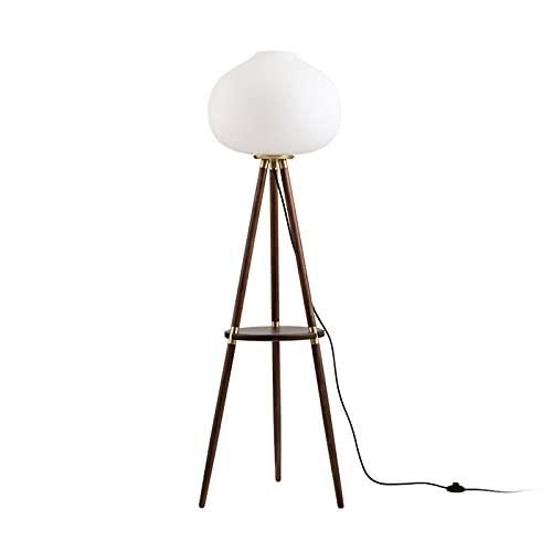 HXXXIN Lampada da Terra Luce Tavolino da caffè di Lusso Lato Divano Lampada da Terra in Legno Massello Atmosfera Creativa Lampada da Terra Comodino Lampada da Tavolo Verticale Mensola,Marrone