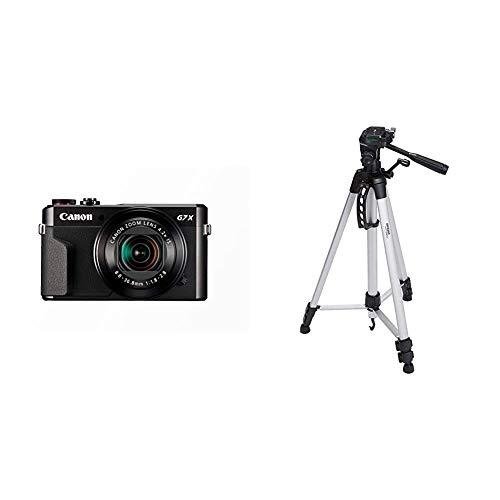 Canon PowerShot G7 X Mark II Digitalkamera (mit klappbarem Display, 20,1 MP) schwarz & Amazon Basics Leichtes Stativ, bis 1,52 m, inkl. Tasche, mit 3-Wege-Schwenkkopf und Wasserwaage