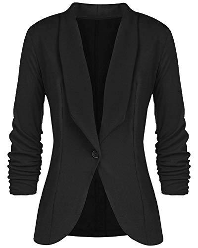LATH.PIN Blazer Damen Jerseyblazer Jacke Kurz Langarm Sweatblazer Casual Oberteil Sweat Tailliert Schwarz Slim Business Büro elegant (M, Schwarz)