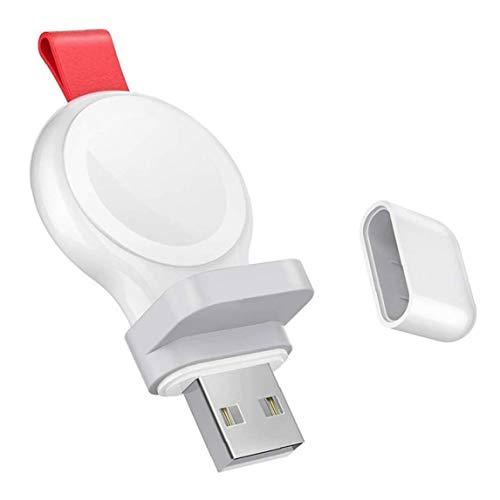 Tuimiyisou Cargador USB Cargador inalámbrico Reloj iWatch inalámbrico portátil de Carga rápida Compatible con Apple Seguir Blanco