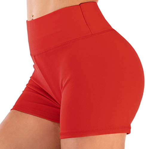 Chaos World Femme Courte Leggings Short Sport Yoga Fitness de Taille Haute Shorts(Rouge,M)