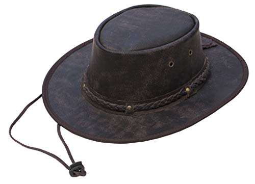 Genuine Full Leather Fold-able Cowboy Hat For Men /& Women By Lesa Collection