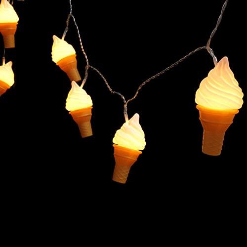 UKCOCO Cadena de Helados Luces LED con Forma de Helado Luces de Hadas Lámpara de Cadena Fiesta de Cumpleaños Luces de Diseño Restaurante Jardín Hogar Decoración Cadena Luces