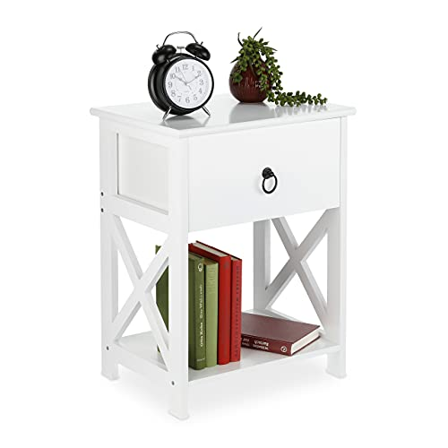 Relaxdays Mesita de Noche con cajón y Estante, Estilo rústico, 53 x 40 x 30 cm, Color Blanco,...