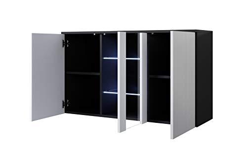 muebles bonitos Aparador Modelo Luke A1 (120x70cm) Colgante Color Negro y Blanco