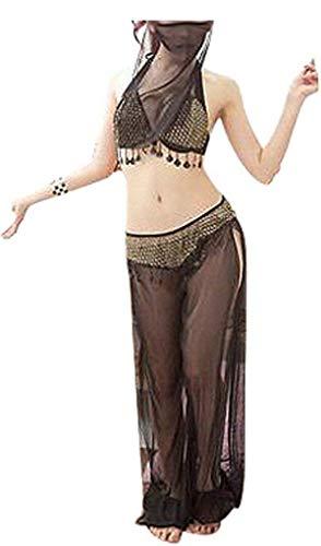 El harn de Turkish Emporium - Disfraz de danza del vientre, disfraz sexy completo de noches rabes. negro negro talla nica