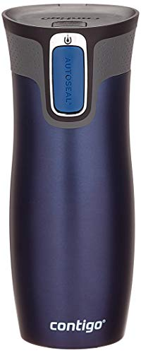 Contigo Thermobecher West Loop Autoseal, Edelstahl Isolierbecher, Reisebecher, Kaffebecher To Go, 100% dicht, auslaufsicher, hält bis zu 5h heiß/12h kalt, 470 ml, Blau