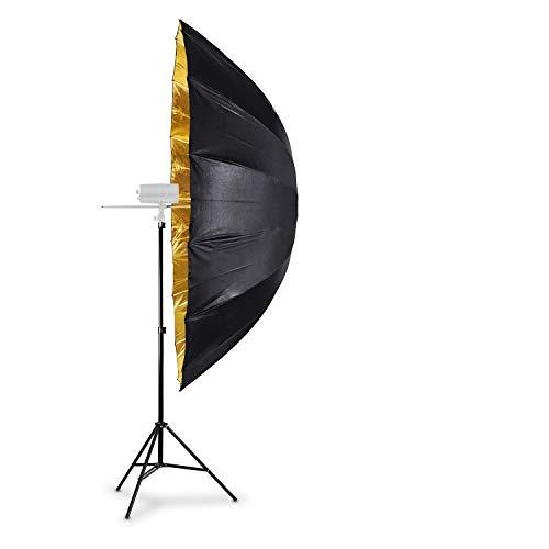 HAUSER & PICARD Parabol-Reflexschirm Singleset 180 cm Gold Parabol-Reflektor (Studioschirm, para-Reflexschirm, Parabolschirm) für Studioblitz by eSmart Germany