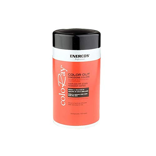 ENERCOS PROFESSIONAL Hair color remover, Salviette per rimuovere i residui di Tinta per Capelli, formula integrata con estratto di Aloe vera per evitare irritazione della pelle,tessuto cotone
