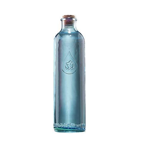 Waterflessen om teken 2-delige set van elk 1,2l 30cm glas blauwe kurkdeksel brochure | Glazen fles zaad van het leven | Drinkfles gouden snit | fles karaf waterenergetisering | Esoterik