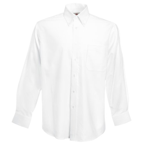 Fruit of the Loom Long Sleeve Oxford Shirt Camisa, Blanco (White), X-Large para Hombre