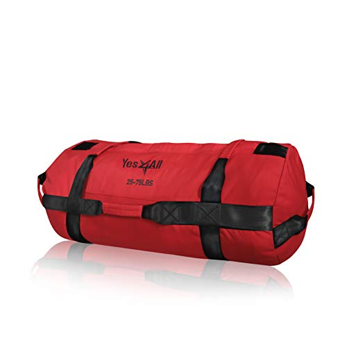 Yes4All Sandbag Weights/Weighted Bags – Sandbags for Fitness, Conditioning, Crossfit with Adjustable Weights (Red – M), 3. red -m