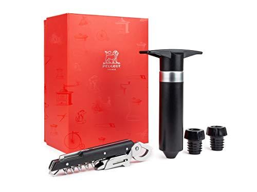 Peugeot Les Instruments du Sommelier Coffret Tire-Bouchon clavelin + Pompe à Vide Epivac, Noir (200718)