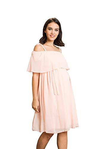 M.M.C. Chiffon Umstands-Kleid - Damen Off-The-Schulter Abendkleid mit Rüschen Cocktail-Schwangerschaftskleid – Partykleid Knielang schulterfrei (Puder, 42)