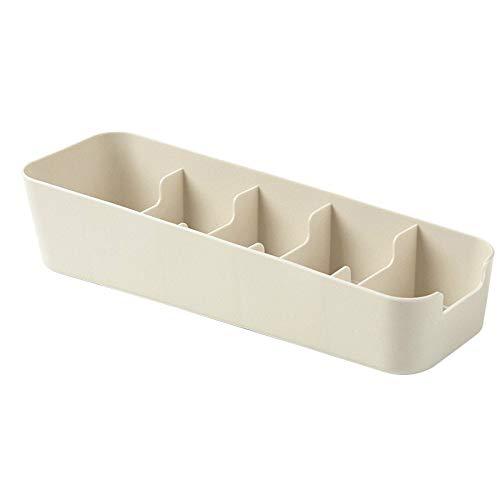 Se puede superponer la ropa interior caja de almacenamiento de fácil ajuste, armario de escritorio, caja de almacenamiento de escritorio, color beige, A