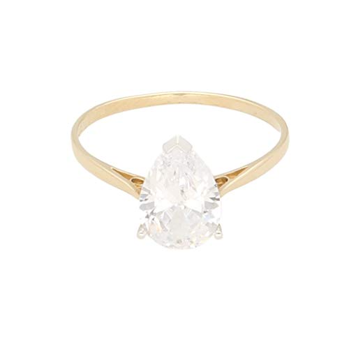 Anillo solitario de oro amarillo de 9 quilates con diamante de imitación de corte pera, talla O 1/2, 7 x 10 mm, para mujer