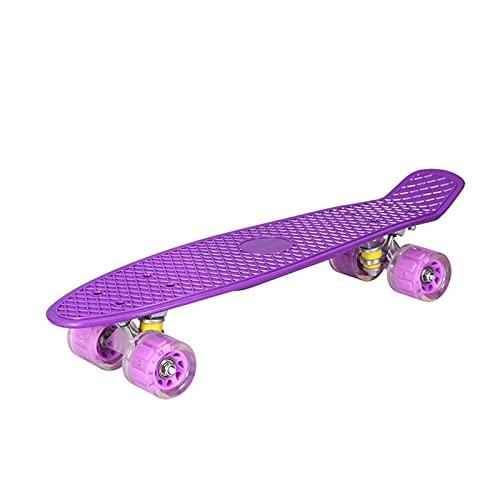 ZHINWEN Monopatín de Longboard, 22 Pulgadas de Resistencia DIRIGIÓ Flash Rueda Skateboard Single Rocker Fish Board Mini Crui-ser ABEC-7 Rodamientos niños Adolescentes Longboard (Color : Purple)