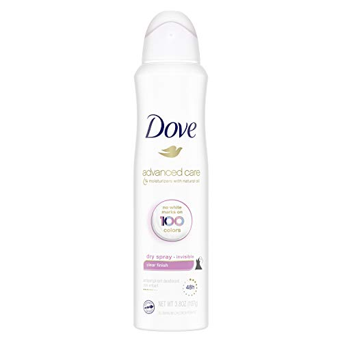 Dove Advanced Care Invisible Dry Spray Antiperspirant Deodorant No White Marks on 100 Colors Clear Finish 48-Hour Sweat and Odor Protecting Deodorant for Women 3.8 oz