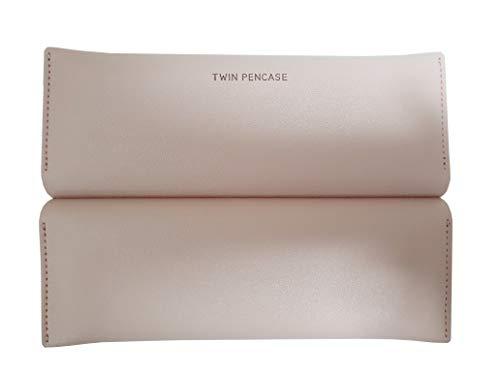 ツインペンケース シンプルな モダンな すっきりとした ポーチ かわいい 韓国 性ペンケース 筆箱 文房具 ポーチ バッグ Pencil Case Pen Pouch 女性の化粧品 子供ブラシ 化粧品 (ネイビー(Navy))