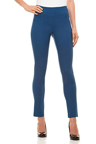 Velucci Womens Straight Leg Dress Pants - Stretch Slim Fit Pull On Style Teal