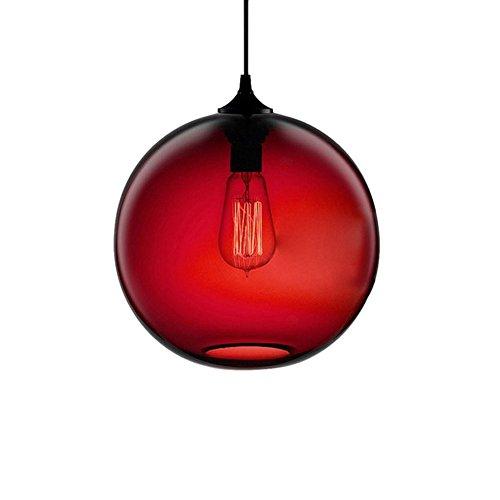 Cozyle Glas Pendelleuchte Vintage Industrial Ball Runde Schatten Loft Pendelleuchte Retro-Deckenleuchte Vintage-Lampe Rot