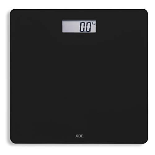 ADE Digitale Personenwaage BE 1619 Amina Baadwaage Gewichtswaage (Körperwaage mit Wiegefläche aus Sicherheitsglas, genaue Gewichtsbestimmung bis 180 kg, inklusive Batterie) schwarz